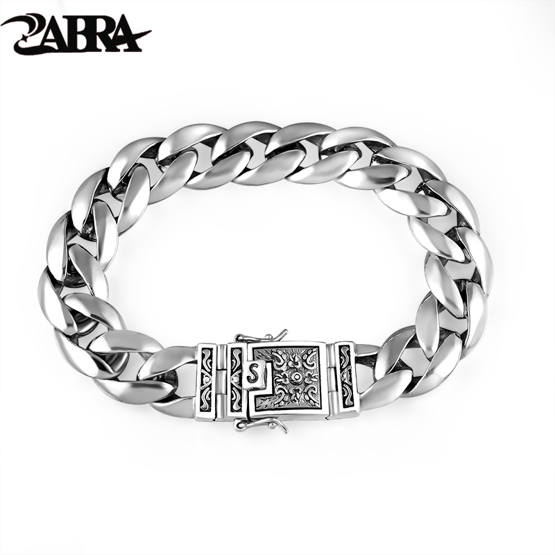 ZABRA Real 925 Silver Ерлерге арналған Білезік 12mm Wide Smooth Flower Қауіпсіз Лок Lock Polish High Polish Link Chain Male Biker Silver Bracelet