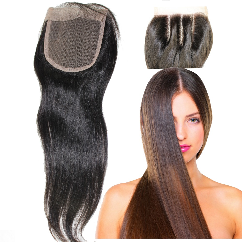Straight perm bleached hair - 8a 130 Density Left Center Right Side Part Lace Closure Brazilian Virgin Hair 4x4 Straight Bleached Knot Invisible Clear In Lace Closure From Hair