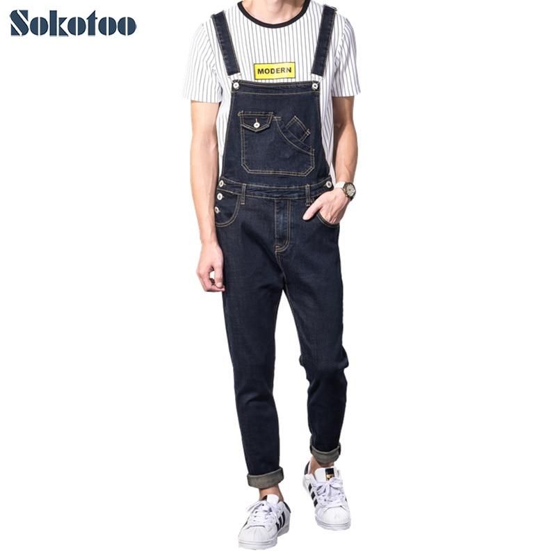 Sokotoo Men's Casual Slim Pocket Denim Bib Overalls Male Suspenders Jumpsuits Plus Size Dark Blue Jeans For Big And Tall