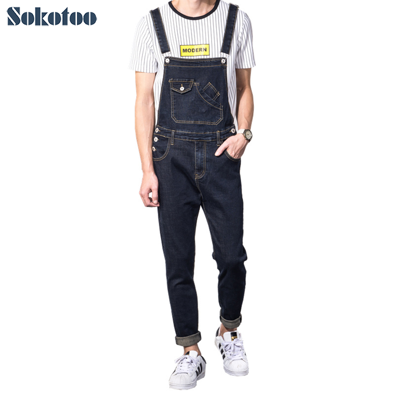 Sokotoo Men's casual slim pocket denim bib overalls Male suspenders jumpsuits Plus size dark blue jeans for big and tall
