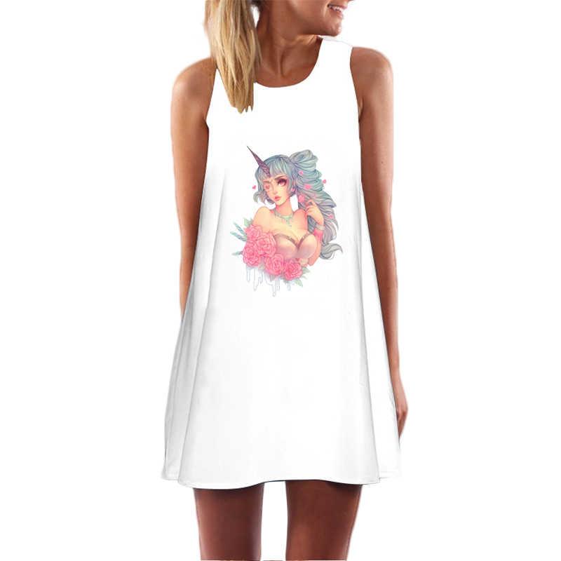 Sommer Kleid Frauen Vintage Feder Elegante Hip Hop Einhorn Sexy Strand Party Mini Sommerkleid Tunika Vestidos Robe Femme Ete 2018