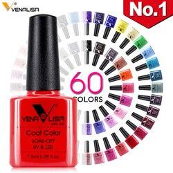 Neue Kostenloser Versand Nail art Design Maniküre Venalisa 60 Farbe 7,5 Ml Tränken Weg Emaille Gel Polish UV Gel Nagel polnischen Lack Lack