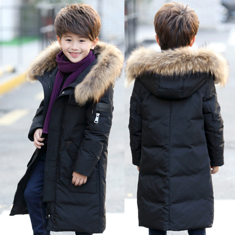 fc8245fd7 -30 Degree Russia Winter Boys Down Jackets Kids Clothes Children Warm Coat  Jacket Boy Natural Fur Snowsuits Hooded Outerwear