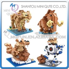 Full Set 4 pc Mini Qute LOZ Kawaii american cartoon ice animal elephant squirrel plastic building blocks model educational toy