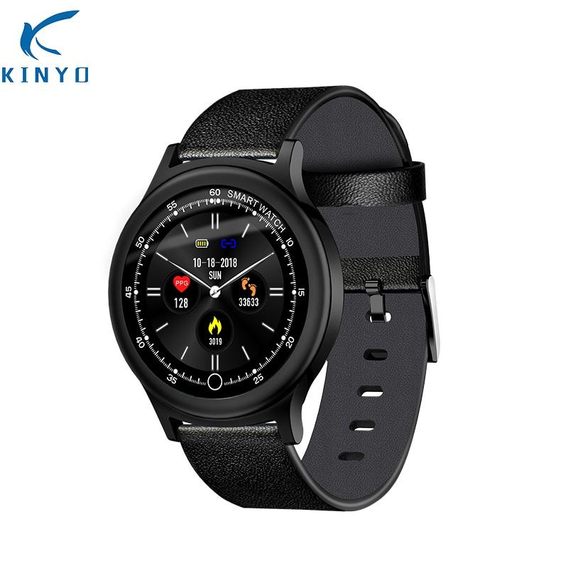 KINYO acier En Cuir de luxe smart bracelet coeur de la pression artérielle taux smartband fitness bracelet pk fit bit xio mi mi bande 3 ck11s