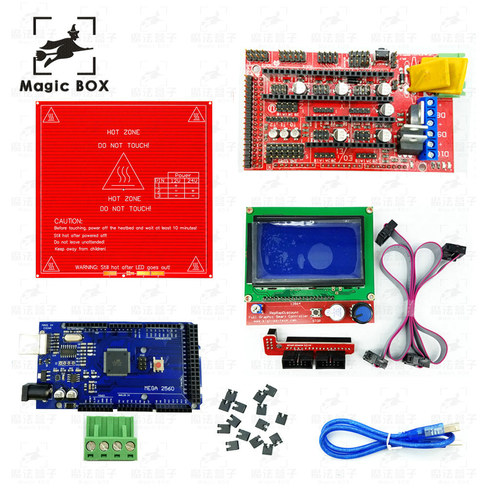 CNC 3D Printer parts Kit Heated Bed MK2B + RAMPS 1.4 Controller Control Panel + LCD 12864+Mega 2560 R3 Development Board ramps 1 4 control board mega 2560 r3 panel 2004 lcd display screen kit for 3d printer