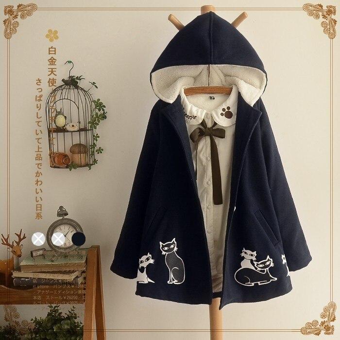 Japanese Mori Girl Boho Cat Print Loose Casual Hoodie Velvet Thick Woolen Blends Fur Fleece Jacket Outwear Women Winter Coat