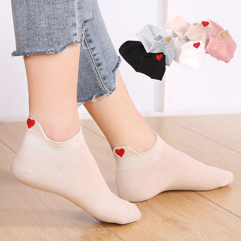 Korean Kawaii Summer Solid Small Love Patterned Cute   Socks   Women Casual   Socks   Candy Color Short All Cotton Elastic Boat   Socks