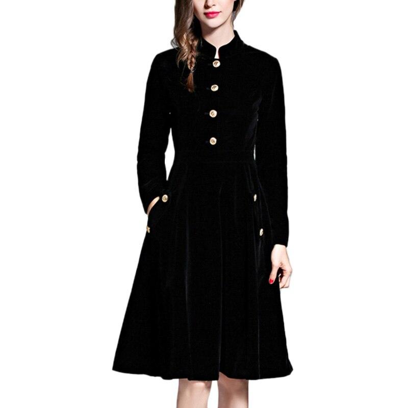 Robe élégante en velours noir robes d'hiver femmes 2018 Vintage à manches longues dames robes de bureau robes de fête Robe Femme Vestido