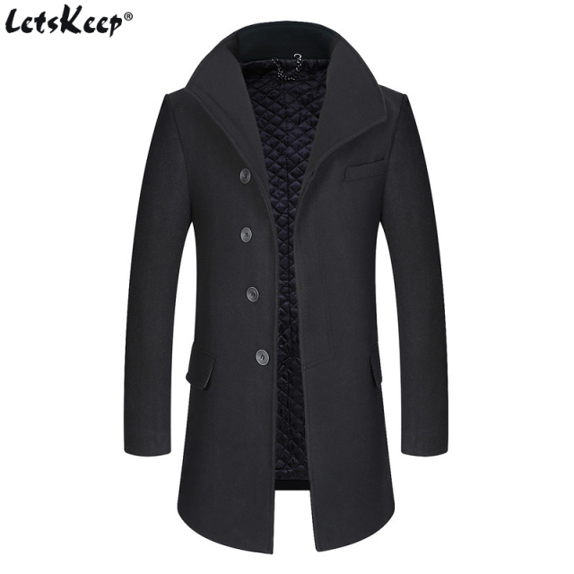 LetsKeep 2018 Winter Long Wool Coat Men Windbreaker Thick mens wool overcoat Classic Business black trench coat , MA525