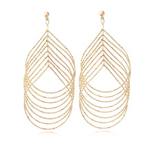 Hot Female Long Drop Earrings Multilayer Geometric Gold Plated Big Dangle Earrings For Women Fashion Jewelry Wholesale 2016