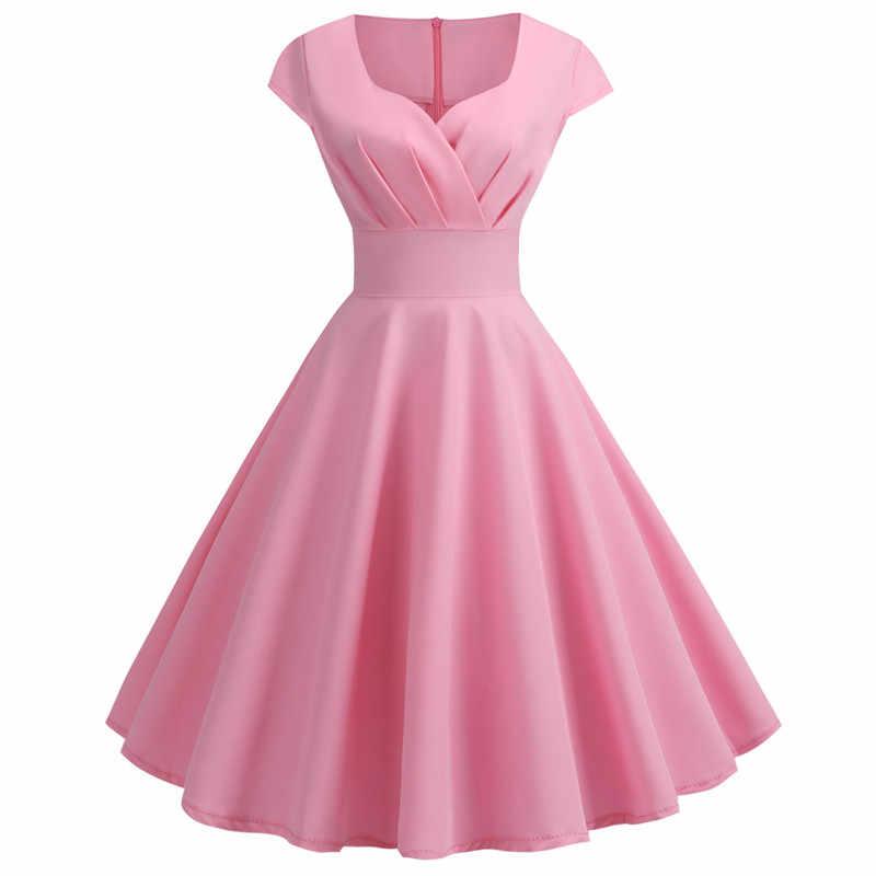 2019 ฤดูร้อนใหม่ผู้หญิงแขนสั้น V คอลำลอง Elegant Retro Pin up Party Midi Vestidos Robe plus ขนาด