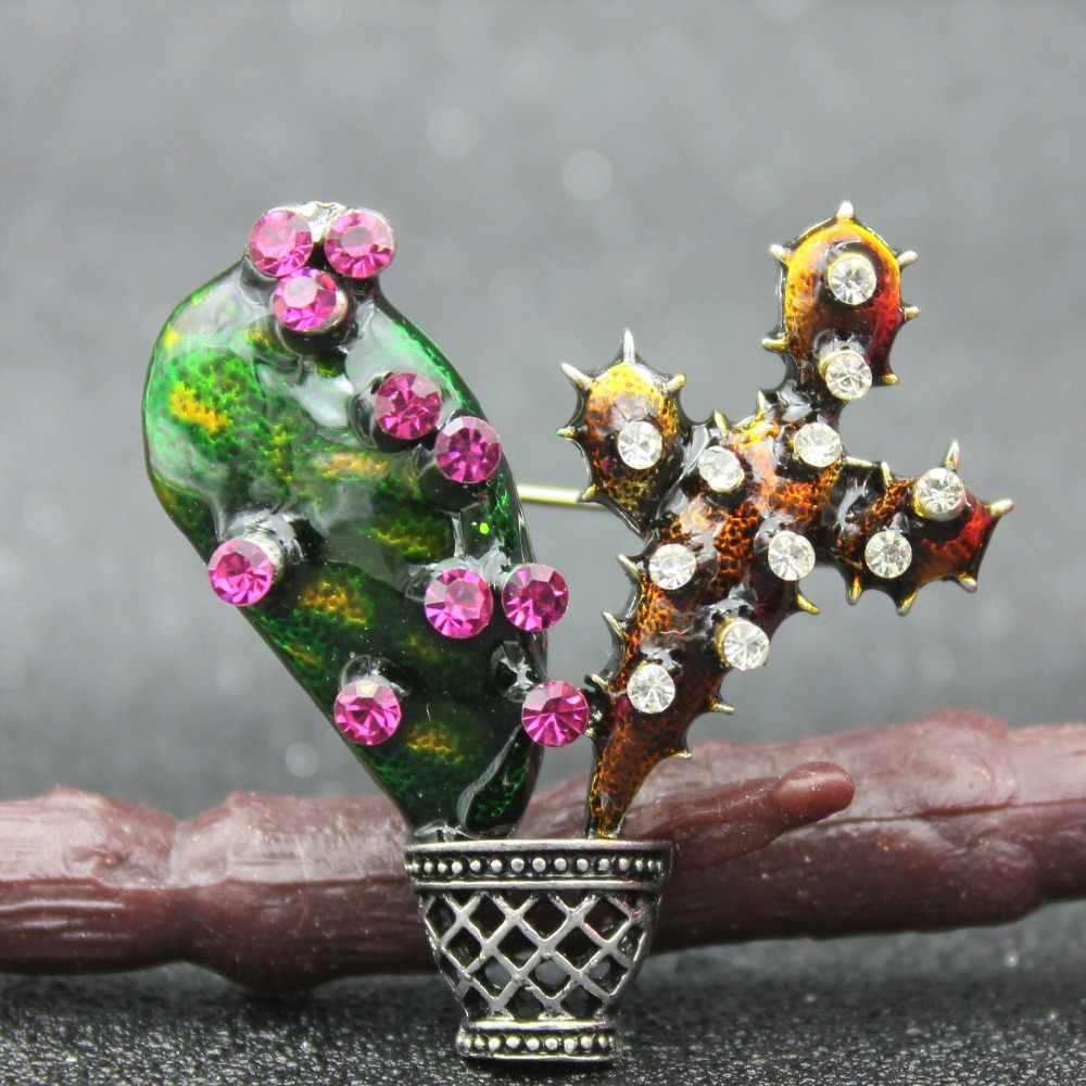Cactus Spille Per Le Donne Accessori Piante Verdi Smalto Spilli Fioritura Rosa Dello Smalto Spilla Risvolto Spille Strass Karl Gioielli