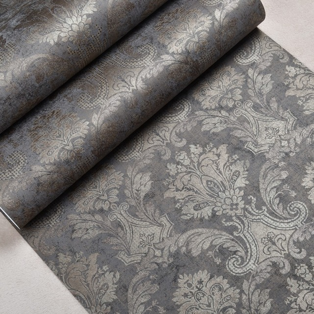 Classic Luxury Victorian Pattern Shimmer Bronze Metallic Damask Wallpaper Non Woven Dark Charcoal Brown Wall
