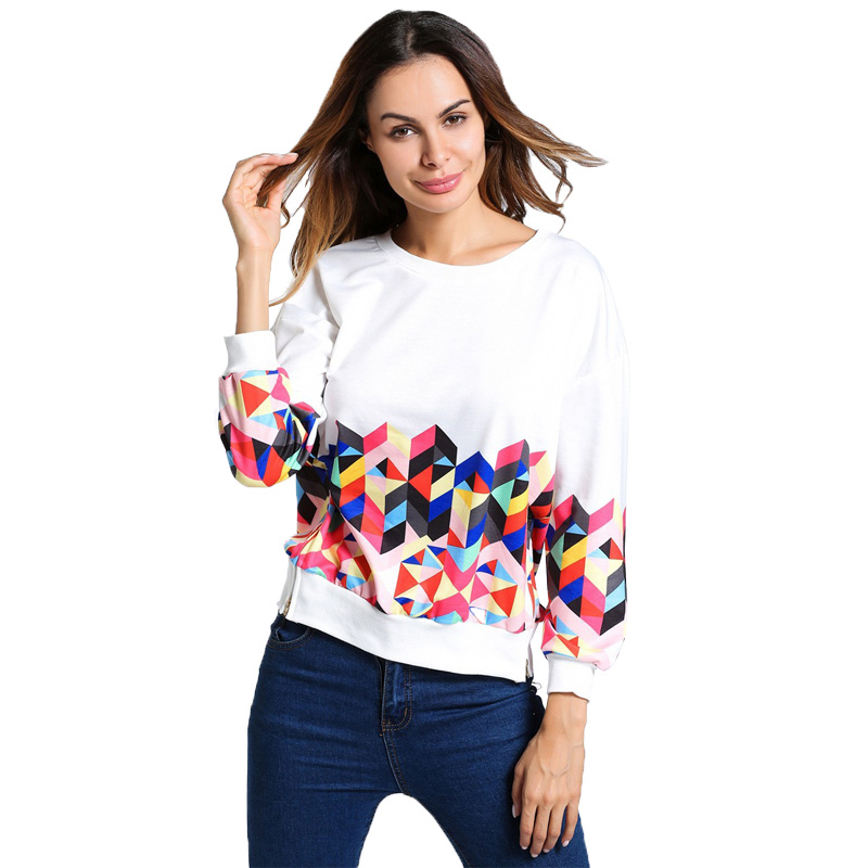 f22144567da New Arrivals 2017 White Zipper Hoodies Sweatshirt Women Autumn Winter Long  Sleeve Print Pullovers Sweatshirt-in Hoodies   Sweatshirts from Women s  Clothing ...