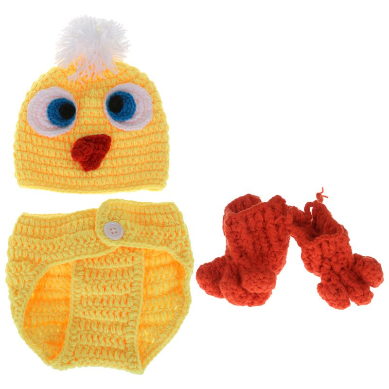1Set Baby Costume Hat Trousers Socks Knitted Woolen Newborn Photography Funny Yellow Duck Cute Cosplay Clothing Props Cap Suit