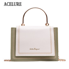 ACELURE Women's Fashion PU Leather Girl Embroidery Mini Bag High Quality Wide Shoulder Strap Bag Messenger Small Square Package(China)
