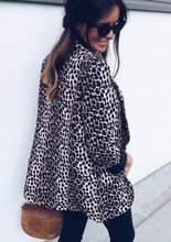 2019 new style leopard print woman coats winter open stitch long sleeve pocket sexy v-neck slim sheath hot sale female coat