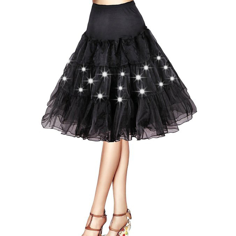 Pleated 2 Layers Tulle Petticoat Dance Christmas Party Colorful LED light Tutu Skirts Sexy Black White Mini Petticoat