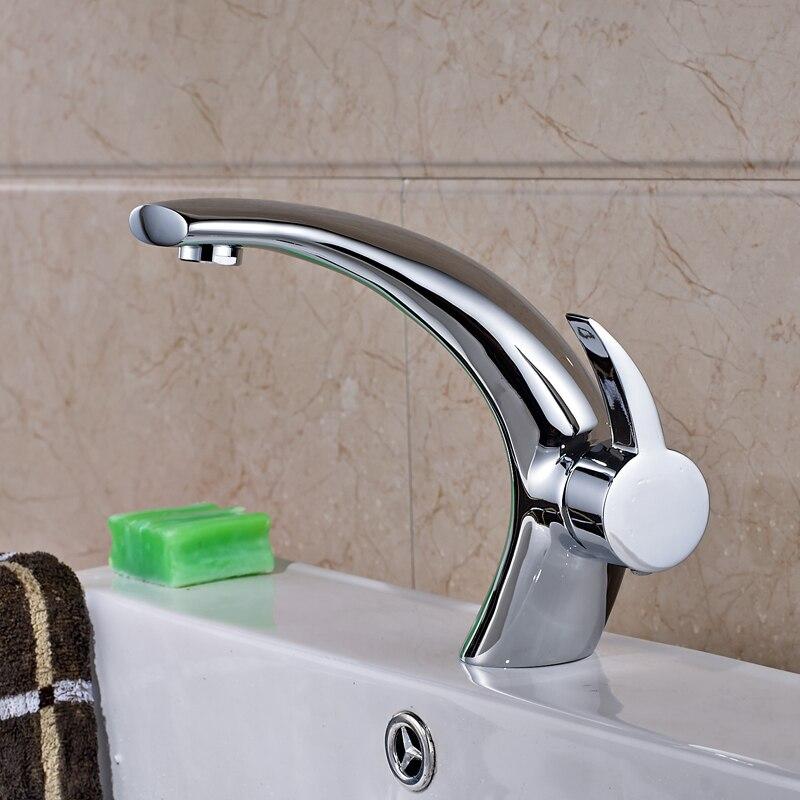 Free Shipping Bright Chrome Bathroom Sink Basin Faucet Single Handle/Hole Mixer Tap стоимость