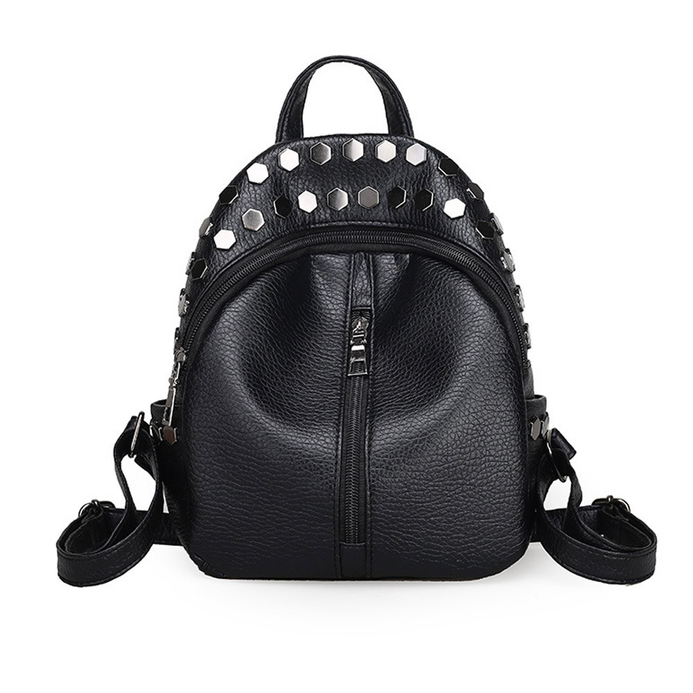 где купить 2018 New Fashion Women Backpack Preppy Style Rivet School Bag for Girls Female Leather Backpacks Small Travel Bag Black Back по лучшей цене