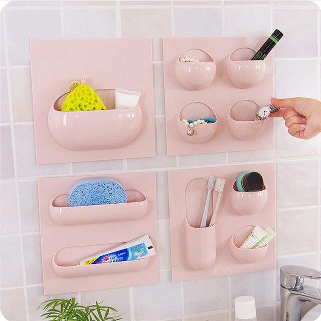 1 4 Units Wall Mounted Storage Holder Bathroom Organizer Shelf For
