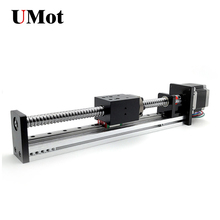 stepper motor slide cnc 1 meters length linear module guide bearing rail ball screw electric half seal robot free shipping dustproof 1 1m travel length cnc linear motion guide module with integrated stepper motor