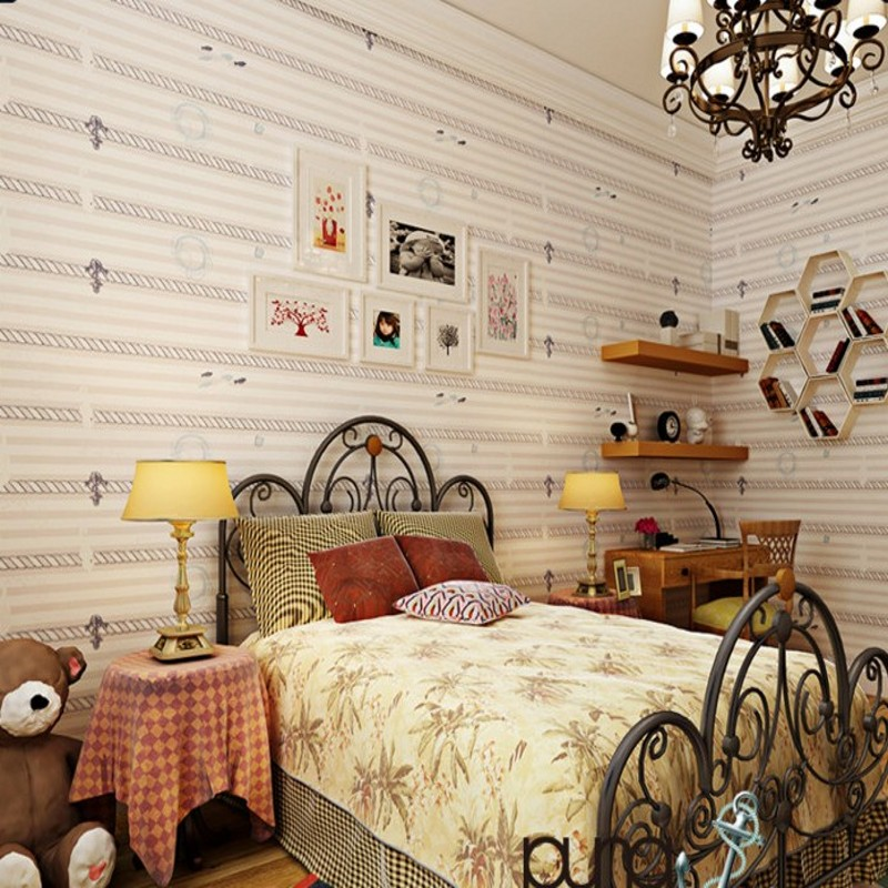 Free Shipping Customized nonwoven fabric striped wallpaper Mediterranean children room wallpaper boy girl bedroom wallpaper