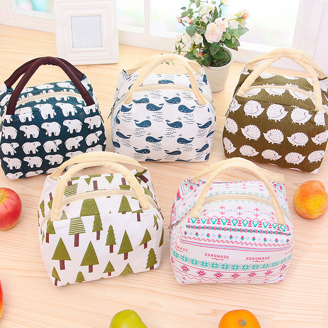 Hot Sell Variety Pattern Lunch Bag Portable Insulated Canvas Iunch Bag Thermal Food Picnic Lunch Bags For Women Kids