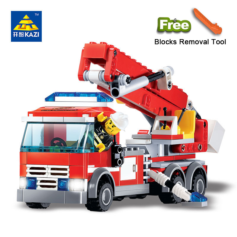 KAZI 8053 Toys City Series Building Blocks DIY Fire Fighting Truck Bricks Sets Educational Toys For Kids Compatible Legos lepin 42010 590pcs creative series brick box legoingly sets building nano blocks diy bricks educational toys for kids gift