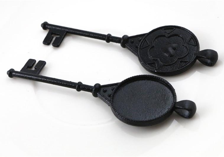 3pcs 25mm Inner Size Black Cabochon Base Setting Charms Pendant (A6-09)