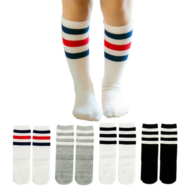a95791911 Child boy football socks striped colored rainbow knee socks cotton school  white long sock for kids girls baby boy children