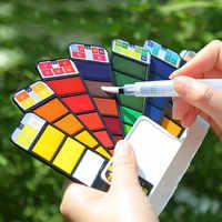 Fan-shaped watercolor paint 18/24/33/42 color solid portable paint set opaque watercolor special pen color palette art supplies