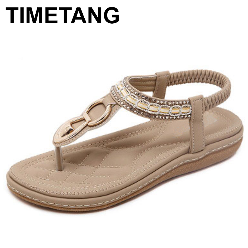 TIMETANG Summer female sandals casual comfortable diamond flat flip flops woman sandals large size soft bottom beach shoes summer leisure slippers slip on round toe comfortable sandals women flat sandals casual flip flops female shoes