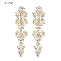 ISHOW Brand Wholesale Fashion Luxury Wedding Earrings Gold Plated Shinning Shell Beads Bridal Long Earrings Jewelry