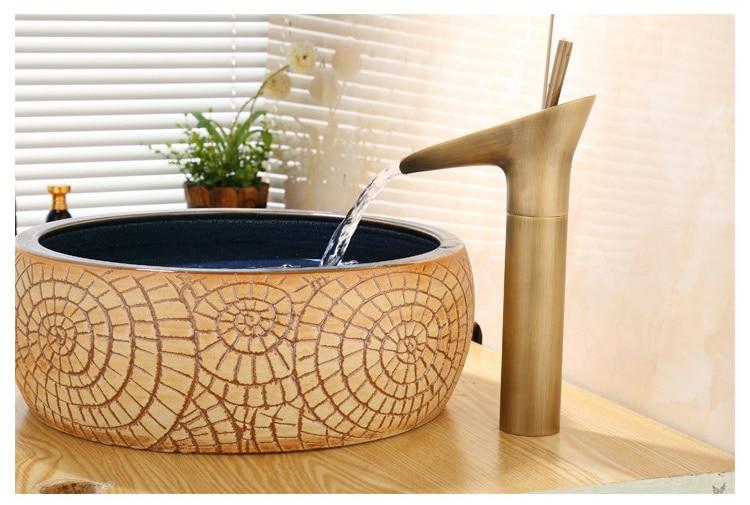MTTUZK! Античный латунный кран для ванной комнаты с одной ручкой смеситель для раковины на бортике стеклянный смеситель для вина