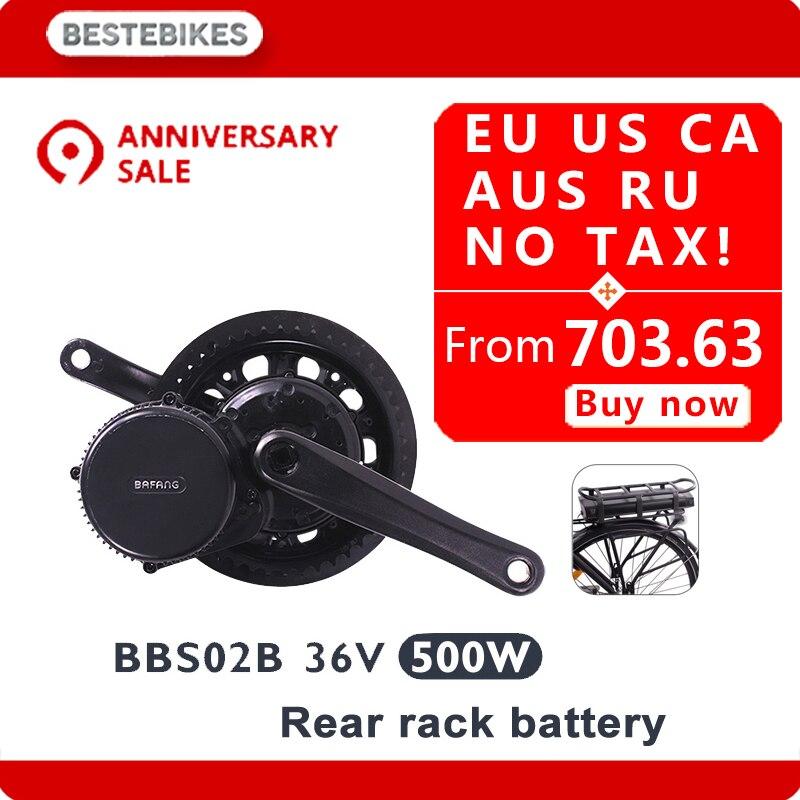 Moteur bafang BBS02B 36 V 500 w lady vélo électrique conversion kit elektrische fiets 20/24/26/28 700C 36v17ah/20.4ah UE US AUCUN IMPÔT