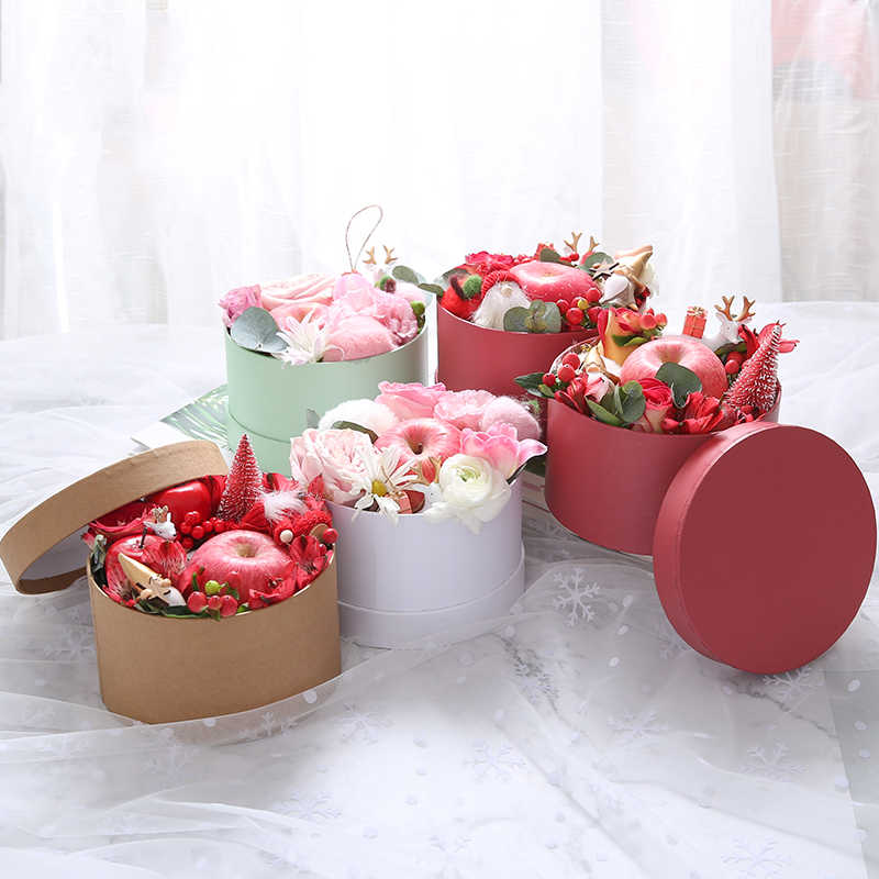 Mini Round Cardboard Paper Flower Boxes Rose Box Valentine's Day Florist Gift Party Favor Packaging Box Wedding Party Decoration