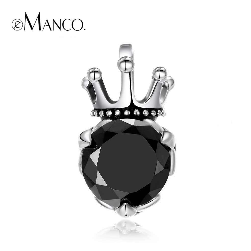 e-Manco 925 Sterling Silver Gothic Black Zircon Pendants Crown Necklaces Wholesale Jewelry Best Gift New Arrival