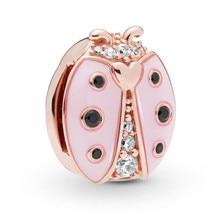 цены 2019 New 925 Sterling Silver Bead Rose Reflexions Pink Ladybird Clip Charm Fit Original Pandora Reflexion Bracelets DIY Jewelry