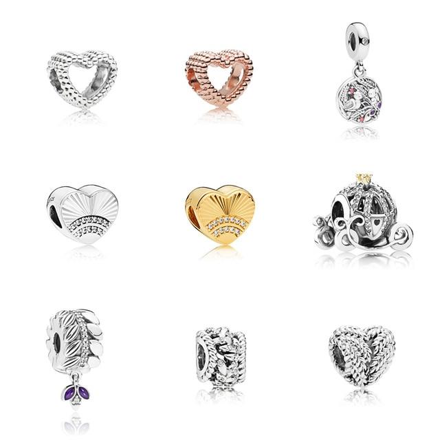 925 Sterling Silver Heart Beads Fit Original Pandora Bracelet DIY Bracelet Beads Silver 925 Fashion Jewelry Valentine's Day Gift