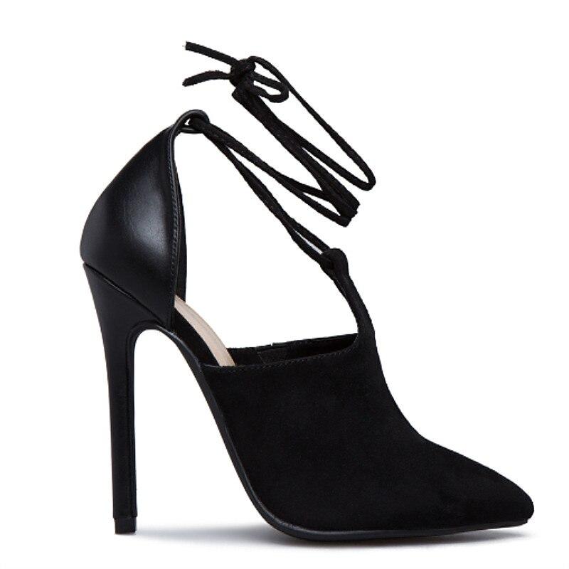 Moda Sexy Damas as 2019 Bombas Stiletto Altos Zapatos Patchwork Tacones Picture Cuero Mujeres Gamuza As Tobillo Picture Encaje Primavera De Punta wCvqp