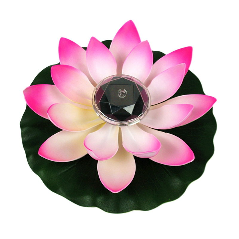 Outdoor Solar Power Floating Lotus LED Light Ornament Pool Pond Decorations
