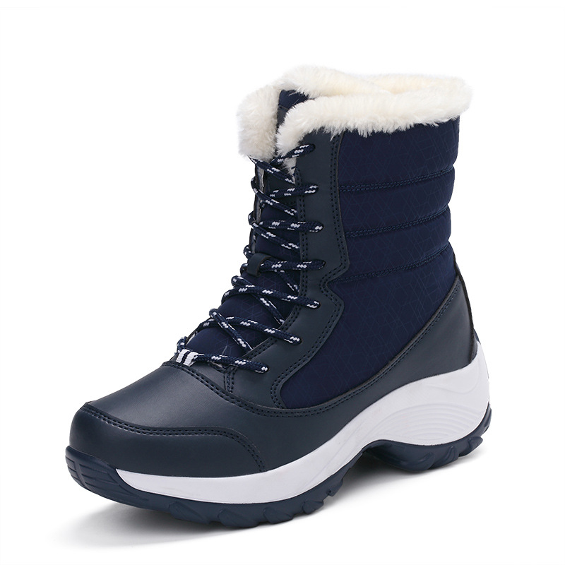 2019 New Women Boots High Quality Leather Suede Winter Boots Women Keep Warm Lace-up Waterproof Snow Boots 1