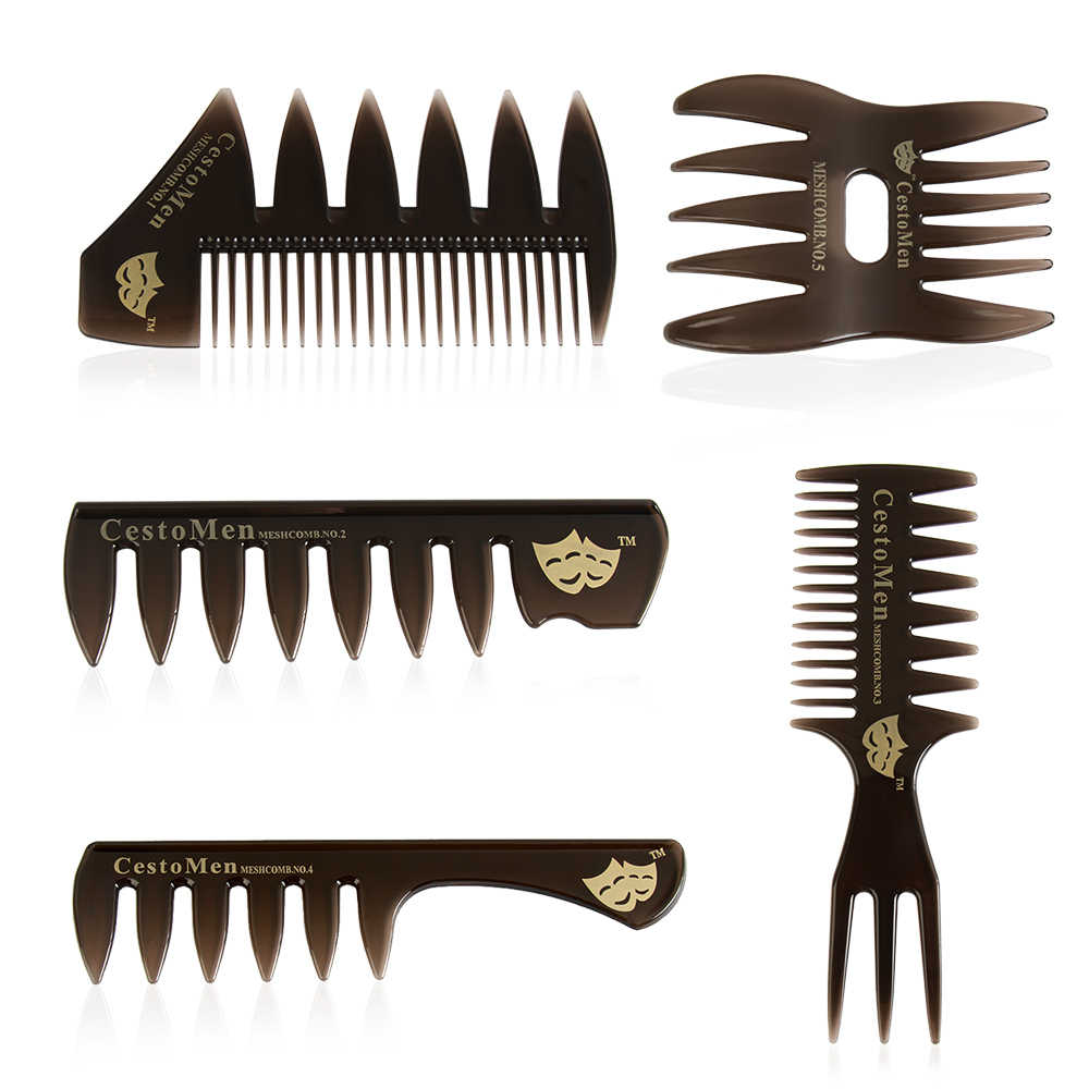 1pc Wide Teeth Hairbrush Fork Comb Men Beard Hairdressing Brush Barber Shop Styling Tool Professional Salon Accessory