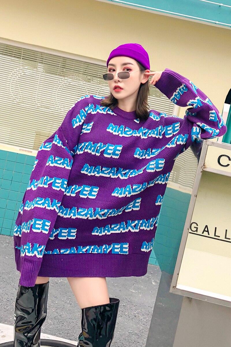 Nouvelle Violet Chandail Vêtements Étrange Bleu Manquante Lettres Hiver Lâche Paresseux Fille Longue rHwSqv4raY
