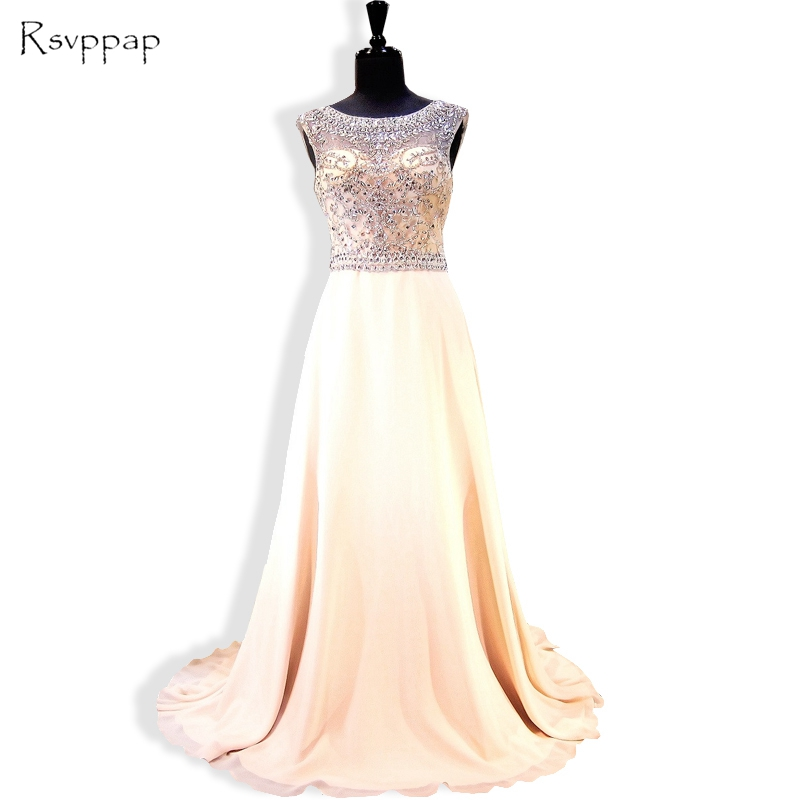Long   Evening     Dress   2019 New Arrival Heavy Beaded Crystals Backless Chiffon Women Backless Formal   Evening   Gowns robe de soiree