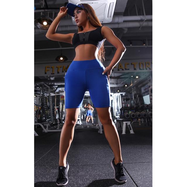 Women's High Waist Sports Shorts with Pocket  S-XL