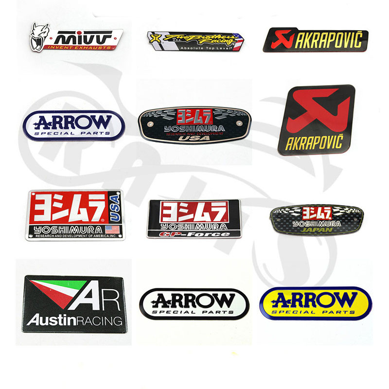 3D Aluminum Heat-resistant Motorcycle Exhaust Pipe Decal Sticker For Yoshimura Akrapovic MIVV Leovince Two Brother Arrow