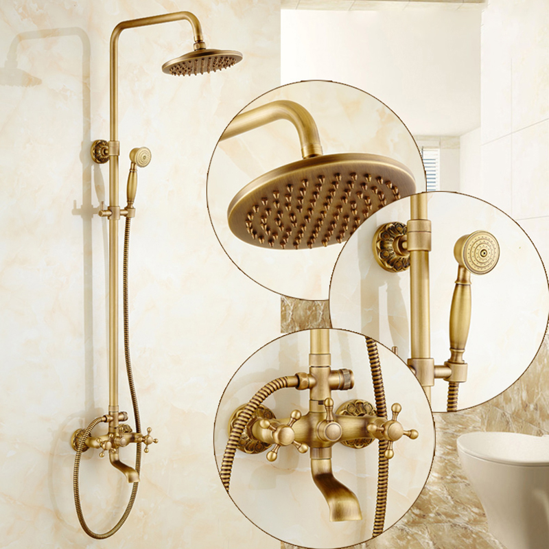 Shower Faucets Antique Brass Wall Moutned Bathroom Faucets Set 8 Rain Shower Head Round Handheld Bra Bathtub Mixer Tap LY-32117